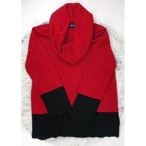Jones New York Signature Cowl Neck Red Sweater
